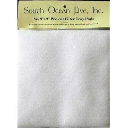 South Ocean Five Presents Ocean Pre-Cut Felt Pad Precut Filter Tray 9x9' 6pk. Pre-Cut Six-Pack Pads are Made from 7 Oz. Micron Material. [29037]