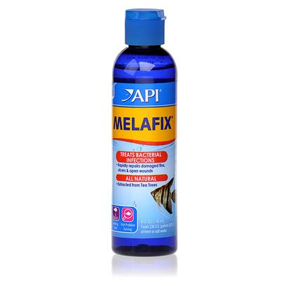 Aquarium Pharmaceuticals Presents Aquarium Pharmaceuticals (Ap) Melafix Liquid Remedy 4oz Treats 236 Gallons. Heals Open Wounds &amp; Abrasions; Promotes Regrowth of Damaged Fin Rays &amp; Tissue; Treats Fin &amp; Tail Rot. Will not Adversely Affect the Biological Filter, Alter the Ph or Discolor Water. Safe for Reef Aquariums &amp; Live Plants. For Use in Fresh or Salt Water. [29093]