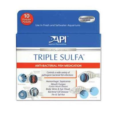 Aquarium Pharmaceuticals Presents Aquarium Pharmaceuticals (Ap) Triple Sulfa Powder Packet. Effectively Treats Furunculosis, Fin &amp; Tail Rot, Cotton Mouth Disease, Body Slime, &amp; Eye Cloud. 10 Ct [29107]