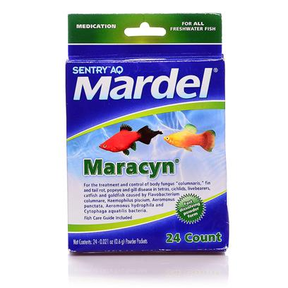 Virbac Presents Mardel Fw Maracyn Powder 24 Packets. Broad Spectrum Antibiotic Treatment Against Gram Positive Bacterial and Fungal Diseases of Fish. Maracyn Freshwater Antibiotic (Erythromycin) Tablets are Recommended for the Treatment of Body Fungus (Columnaris), Fin and Tail Rot, Popeye, Gill Disease and Secondary Infections. Erythromycin is a Broad-Spectrum Antibiotic which has been Shown to be Effective Against a Number of Pathogenic Bacteria Associated with Ornamental Fish Disease. When Used at the Recommended Dosage Maracyn Maintains a Therapeutic Level of the Drug Within the Aquarium. Maracyn does not Color the Water and will not Interfere with the Biological Filter. Maracyn is Primarily Effective Against Gram-Positive Pathogenic Microorganisms. Symptoms of Clamped Fins, Swollen Eyes, Heavy or Rapid Breathing, Patchy Coloration, Change in Swimming Behavior or Corner Hiding can be Signs of Possible Bacterial Infection. All Suspected Bacterial Infections should be Treated Immediately. Available in Tablet or Powder Form. Tablets/Powder should be Dropped into the Tank (not the Filter). The Tablets/Powder Dissolve and Circulate through the Water. Use of a Hospital Tank is Recommended. Use One Tablet/Powder Packet Per 10 Gallons of Water and Repeat Every 24 Hours for 5 Days. After Treatment Maracyn can be Removed by Water Changes or Fresh Activated Carbon. [29190]