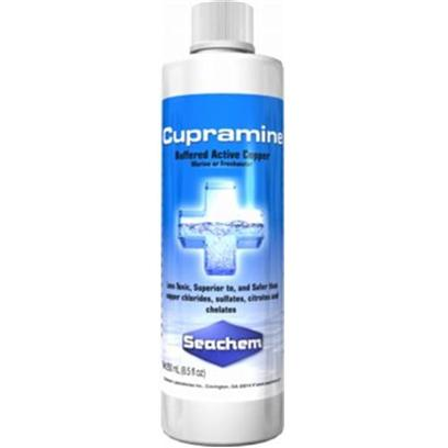 Seachem Laboratories Presents Seachem Cupramine Copper 250 Milliliter. Cupramine Effectively Eradicates Oodinium, Cryptocaryon, Amyloodinium, Ichthyophthirius , and Other Ectoparasites of Both Freshwater and Marine Fish. It is Superior to Copper Sulfate, Chloride &amp; Citrate it is Non-Acidic, Less Toxic to Fish, Remains in Solution, and does not Contaminate the Filter Bed. It is Superior to Chelates it is Fully Charged (Ionic), Active at Low Concentrations, and is Removable with Carbon. [29224]