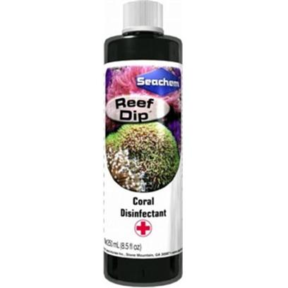 Seachem Laboratories Presents Seachem Reef Dip 250ml. Reef Dip™ Contains Elemental Iodine Complexed to a Protective Slime Coat for Safely and Gently Disinfecting Corals. It is Effective Against Bacteria, Fungus, and Protozoans. It may be Used Prophylactically (without Evidence of Disease) or to Remedy Diseased Specimens. It is Safe to Use with Both Stony and Soft Corals. It is also Safe for Anemones and Polyps. [29239]