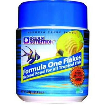 Ocean Nutrition Presents Onutr Formula One Flake 2.2oz. Freshwater and Marine. A Gourmet Natural Food for all Marine Tropicals, this Food will Significantly Improve Coloration and Vitality in your Fish while Boosting the Immune System. Key Ingredients Include Salmon, Pacific Plankton, Squid, Krill, Clams, Kelp, Herring, Brine Shrimp, Minerals, Vitamins and Carotenoid Pigments. [29380]