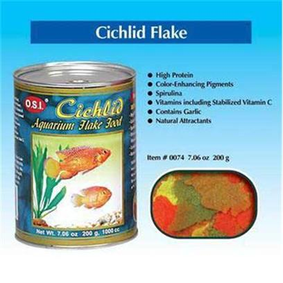 Ocean Star International Presents Ocean Star International (Osi) Flake Cichlid 2.24oz. O.S.I. Cichlid Flake Food is a Basic Diet Formulated with High Protein Levels to Meet that Active Lifestyle of South, Central and African Cichlids. High Levels of Fat in the Diets Provide Extra Energy for these Active Fishes. Color-Enhancing Pigments, Spirulina and all Vitamins Necessary for Good Health are Included. [29402]