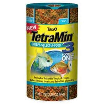 Tetra Usa Presents Tetra 3 in 1 Select Tetramin Select-a-Food 2.4oz. Unique Four-Section Canister Provides Highest Quality Nutrition and Feeding Fun. Contains Two Chambers of Tetramin Tropical Crisps Staple Food, One Chamber of Babyshrimp Treats and One Chamber of Tetramin Granules. Easy-to-Use Dispenser Top Allows you to Dial in the Food that is Desired. This Versatile Product Provides Healthy Feeding Variety all in One Package. 2.4 Oz [29437]