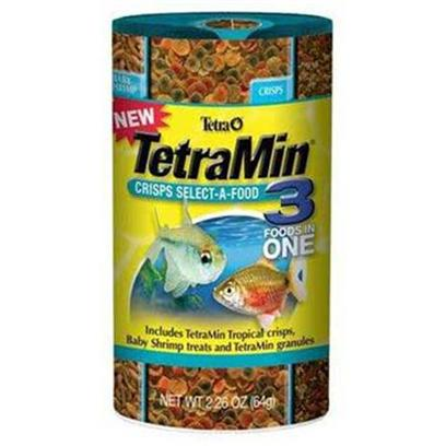 Tetra Usa Presents Tetra Min Crisp Select 2.4oz Tetramin Select-a-Food. 3 Foods in 1 can (Tetramin Tropical Crisps, Babyshrimp Treat and Tetramin Granules) Provides Nutritious Variety and Feeding Fun. Easy-to-Use Dispenser Top. Tropical Crisps Food Generates Up to 35% Less Waste than Competing Flakes. This Versatile Product will Help to Introduce Consumers to the Crisps Products and Gain Trial for Tetra's Babyshrimp Treat Product. [29470]