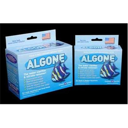 Algone Presents Algone Water Treatment Small-6 Pack. For Large Aquariums &amp; Small Ponds Creates Crystal-Clear Water Safe for Aquatic Plants Clears Cloudy Water Reef Recommended Clears Green Water Algone Protects and Enhances Bio-Availability of Trace Elements, Assimilates Organic and in-Organic Pollutants and Toxins, Energizes Microbial Activity, Corrects Nutrient Imbalances, Breaks Down Carbohydrates, Protein, Fat and Other Water Pollutants, and Restores the Chemical and Biological Balance of the Aquarium. Safe for Fish, Plants, Algae Eaters, Snails, Coral, Live Rock, Polyps, Invertebrates, Etc. Algone Enhances the Environment of Oxidizing (Nitrifying) Bacteria and Promotes a Higher Dissolved Oxygen Content in the Aquarium. [29736]