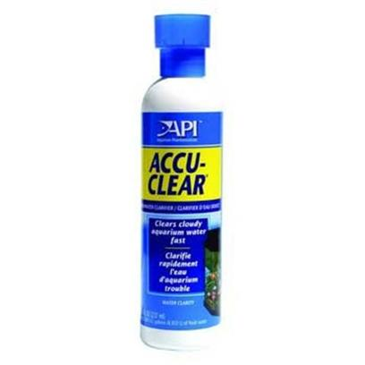 Aquarium Pharmaceuticals Presents Aquarium Pharmaceuticals (Ap) Accu Clear 8oz. Clarifies Hazy Aquarium Water Fast, Eliminating Clouding Brought About by Suspended Particles. Clumps Tiny Floating Particles Together, Forming Large Particles to be Removed by the Aquarium Filter. Eliminates Milky Haze Caused by Gravel in New Aquariums. Clears Cloudy Aquarium Water Fast! Safe for Use with all Fish and Plants. Quickly Clears Cloudy Aquarium Water, Eliminating Clouds Caused by Dirt. Clumps Tiny Particles, Causing them to Fall to the Bottom or Collect in the Filter. Makes any Filter Work More Efficiently to Create Crystal-Clear Water Fast. [29738]