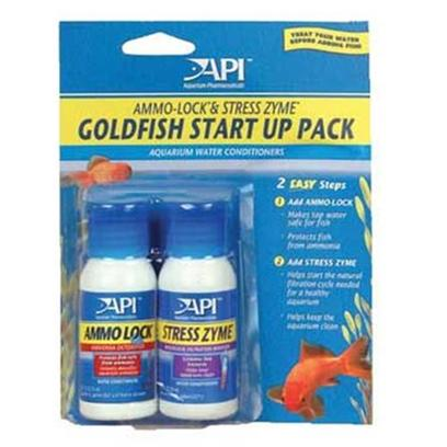 Aquarium Pharmaceuticals Presents Aquarium Pharmaceuticals (Ap) Goldfish Start Up Pack. Together, Ammo Lock and Stress Zyme Assure Good Water Quality, an Efficient Biological Filter, Healthy Fish and a Clean Aquarium. Use when Setting Up your Fresh or Saltwater Aquarium and Every Time you Add Water. 1 Oz. Bottles on Blister Card (30 Ml) [29766]