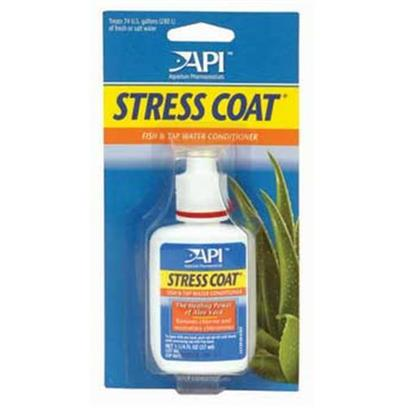 Aquarium Pharmaceuticals Presents Aquarium Pharmaceuticals (Ap) Stress Coat with Pump Top-16oz. A Patented Formula Containing Aloe Vera, Nature's Liquid Bandage, to Protect &amp; Heal Fish. Forms a Synthetic Slime Coating on the Skin of Fish. Removes Chlorine &amp; Heavy Metals. Use Whenever Setting Up an Aquarium or Changing Water. [29789]