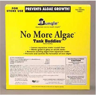 Jungle Laboratories Presents Jungle no More Algae T/B 4oz (Treats 240gallon). Leaves Aquarium Water Crystal Clear by Removing Existing Algae from Aquarium Water. Inhibits the Growth of Free-Floating Algae Blooms and Algae that Grows on the Sides of Glass and Acrylic Tanks. Also Prevents the Formation of New Algae. The Fizz lets you Know it's Working! No More Algae Liquid no More Green Water. • no More Algae Growth.,'Attacks and Prevents Algae Growth in Aquariums in a Safer, More Effective Way. Also Retards the Growth of Suspended Algae Blooms.','Remove Carbon Form Filter During Use. Shake Well Before Use. As Regular Maintenance, Repeat Treatment when Algae Growth Begins to Appear. If Algae is Already Present on the Sides of Aquarium, Wipe Clean with a Jungle Algae Remover Cleaning Pad. Do not Use',8 Oz. (236 Ml),1 Tsp./10 U.S. Gal. (5 Ml/40 L),Up to 480 U.S. Gal. (1800 L) [29921]