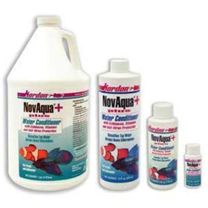 Kordon/Oasis Presents Kord Novaqua Plus Gallon. Novaqua+ is the New Generation of Novaquas, it is the Latest Stage of Technological Development in Water Conditioners for Aquariums and Ponds. Novaqua+ is the Most Effective of the Tap Water Conditioners for Benefiting Aquatic Life. But it Goes Far Beyond That. Novaqua+ Provides, in a Single Product, Everything Necessary to Handle all of the Needs when Treating Tap Water for Aquatic Life (Except for Handling Nitrogen Compound Removal). For the Removal of Toxic Nitrogen Compounds Including Ammonia/Ammonium, Nitrites, Nitrates Use Kordon's Amquel+ . Novaqua+ is Recommended to be Used with Amquel+, with which it is Fully Compatible. [29988]