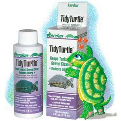 Kordon/Oasis Presents Kord Tidy Turtle 4oz. Tidy Turtle Keeps Turtle Bowls, Tanks and Aquariums Clean by Using Naturally Occuring Beneficial Bacteria to Remove Sludge from the Gravel Substrate. Odors Caused by Foul Water are Greatly Reduced. This Formula Contains Specifically Developed Sludge Removing Bacteria Used to Remove Organic Debris from Aquarium Gravel, Filters, Tubing, Etc. Tidy Turtle Contains only Naturally Occuring or Beneficial Bacteria and Augments Beneficial Microbes Already Present in the Turtle's Environment. As Well as Eliminating Unsightly Sludge from the Aquarium, these Bacteria will also Reduce Odors that are Produced as a Result of Organic Decay. [30003]