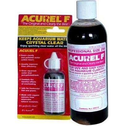 Loving Pets Presents Lv Acurel F Water Clarifier 25 Mi. Acurel #F Aquarium Clarifier Clears Cloudy Water Within Hours. Removes Suspended Particles that Make your Water Dirty . Gives Aquarium Water that 'just Polished Look' Acurel #F Aquarium Clarifier Greatly Improves Filter Efficiency Combats the Harmful Effects of Overfeeding. Safe for Use with Freshwater Fish and Plants. Keep your Aquarium Crystal Clear with Acurele Profession Size 250. It Helps Remove Substances in your Aquarium while Increasing the Efficiency of your Filter and Safe for Fish. [30007]
