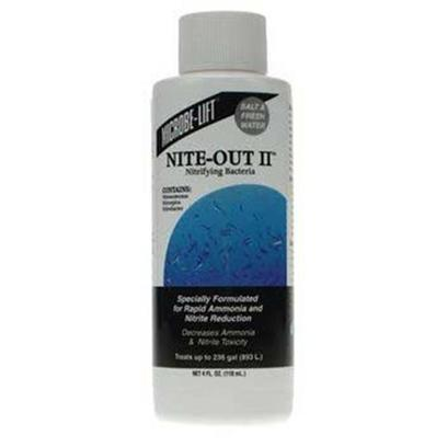 Ecological Labs (Microbe-Lift) Presents Mic Niteout Ii Aquarium 4oz. Reef, Marine &amp; Freshwater Safe Bacterial Products Nitrifying Bacteria Specially Formulated for Rapid Ammonia and Nitrite Reduction Decreases Ammonia and Nitrite Toxicity Designed Specifically for Aquarium Waters that Contain Marine Life. Its Highly-Specialized Microbial Consortium of Nitrifying Cultures are Specially Formulated to Eliminate Ammonia Via a Natrual Biological Process Termed Nitrification. The Cultures will Establish, Promote or Stabilize and Maintain Nitrification in Aquarium Waters, Eliminating the Toxic Effect of Ammonia. This Liquid Nitrifying Bacteria Contains Select Strains of Nitrosomonas, Nitrospira and Nitrobacter. Nitrosomonas Oxidize Ammonia to Nitrite and Nitrobacter and Nitrospira Oxidize Nitrite to Nitrate. Available in 4oz and 16 Oz. [30033]