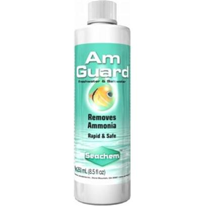 Seachem Laboratories Presents Seachem Amguard Liquid Ammonia Remover 500ml. Amguard™ Safely, Rapidly and Efficiently Removes Toxic Free Ammonia. It is Safe to Use During Tank Cycling and is Ideal for Treating Unexpected Emergency Situations. Amguard™ Reacts with Free Ammonia Within Minutes and does not Alter Ph . Ammonia can Exist in Two Forms Free and Ionized. It is only the Free Form that is Toxic. Traditional Ammonia Test Kits Convert all Ammonia to Free Ammonia by Raising Ph to 12–14; at this Ph no Ammonia Removing Product can Function, and Thus a False Positive Reading will Result. Use Ammonia Alert™ or Multitest™ Free & Total Ammonia to Directly Monitor Levels of Free Ammonia. Amguard™ also Removes Chlorine and Chloramines. [30062]