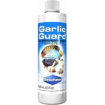 Seachem Laboratories Presents Seachem Garlic Guard 250ml. Garlicguard is an Appetite/Flavor Enhancer for Freshwater and Saltwater Fish. Garlicguard will Help Renew the Interest of Poor or Finicky Eaters. Garlicguard Contains Naturally Derived Garlic Oil. Garlicguard also Contains Vitamin C. For Use in Both Freshwater and Marine. Garlicguard is Reef Safe. [30105]