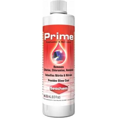 Seachem Laboratories Presents Seachem Prime 50ml. Prime™ is the Complete and Concentrated Conditioner for Both Fresh and Salt Water. Prime™ Removes Chlorine, Chloramine and Ammonia. Prime™ Converts Ammonia into a Safe, Non-Toxic Form that is Readily Removed by the Tank's Biofilter. Prime™ may be Used During Tank Cycling to Alleviate Ammonia/Nitrite Toxicity. Prime™ Detoxifies Nitrite and Nitrate, Allowing the Biofilter to More Efficiently Remove Them. It will also Detoxify any Heavy Metals Found in the Tap Water at Typical Concentration Levels. Prime™ also Promotes the Production and Regeneration of the Natural Slime Coat. Prime™ is Non-Acidic and will not Impact Ph. Prime™ will not Overactivate Skimmers. Use at Start-Up and Whenever Adding or Replacing Water. [30135]
