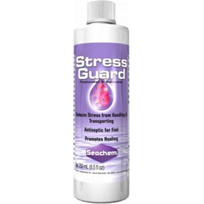 Seachem Laboratories Presents Seachem Stress Guard 50ml. Stressguard is the Premium Slime Coat Protection Product. Stressguard will Reduce Stress and Ammonia Toxicity Whenever Handling or Transporting Fish. Stressguard Binds to Exposed Protein in Wounds to Promote Healing of Injured Fish and to Reduce the Likelihood of Primary and Secondary Infections. Stressguard is Compatible with all Medications Except Those that are Copper Based. Stressguard is not Amine Based and will not Interfere with Purigen or Hypersorb Regeneration. Stressguard does not Coat Resins or Clog Filtration Like Competing Slime Coat Type Products Can. [30151]