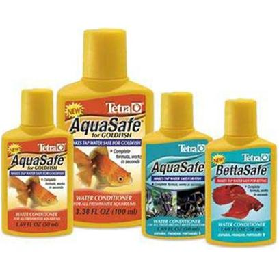 Tetra Usa Presents Tetra Aquasafe Goldfish for 3.38oz 100ml. Aquasafe for Goldfish Conditions Tap Water Safe by Neutralizing Chlorine and Heavy Metals Present in Municipal Water Supplies. Aquasafe for Goldfish also Neutralizes Chloramines by Breaking Down the Bond Between Chlorine and Ammonia while Reducing Both Fish Toxic Chlorine and Ammonia Components. In Addition, Aquasafe for Goldfish Enhances the Natural Protective Slime Coating of Goldfish to Help Wounds Heal and Protect Fish from Abrasions. [30173]