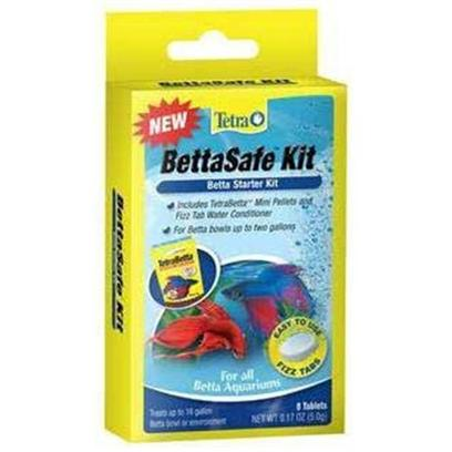 Tetra Usa Presents Tetra Bettasafe Kit 8tab. All in One Food and Water Care Solution for Bettas Tetra Fizz Tabs are Fast-Dissolving, Premeasured Tablets that Make Caring for an Aquarium Faster, Easier and More Convenient Fizz Tab Water Conditioner Removes Chlorine and Promote Protective Slime Coating Includes a Sample Sachet of Tetrabetta Mini Pellets Treats 2 Gallons [30176]