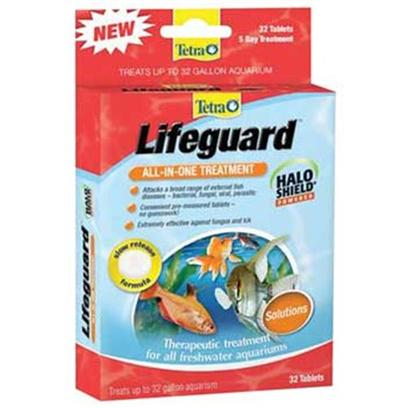 Tetra Usa Presents Tetra Lifeguard 32 Tab-Treats Up to 32gal. Tetra Lifeguard Fresh Water Treatment - Tetra Lifeguard Fresh Water Treatment is a Convenient, all-in-One Treatment for Tropical Freshwater Aquarium Fish. The Lifeguard Fresh Water Treatment is an Effective Therapeutic Treatment for a Wide Variety Aquarium Fish Diseases, Remeasured Tablets are Extremely Effective Against Fungus and Ich Disease all-in-One Tablet. [30183]