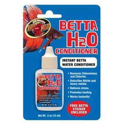Zoo Med Laboratories Presents Zoo Betta H2o Conditioner Medium (Med) .5oz. The Zoo Med Betta H2o Conditioner Instantly Conditions your Pets Water to Promote Good Health. Removes Chloramines and Chlorine. Detoxifies Nitrite and Heavy Metals. Relieves Stress. Promotes Healing. Works Instantly! [30212]