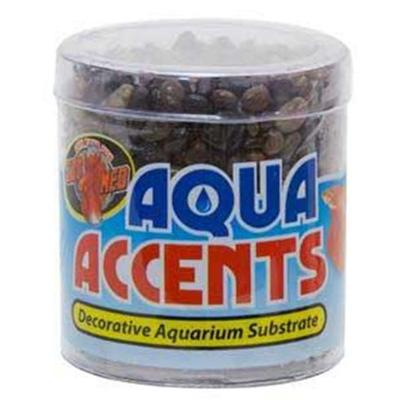 Zoo Med Laboratories Presents Zoo Dark River Pebbles 1/2lb Aqua Accents.  Epoxy Coated Aquarium Gravel/Sand Safe for all Freshwater and Saltwater Aquariums.  Excellent for Fishbowls or Nano Tanks.  no Rinsing Necessary. Will not Cloud Water. 1/2 Lb [30328]