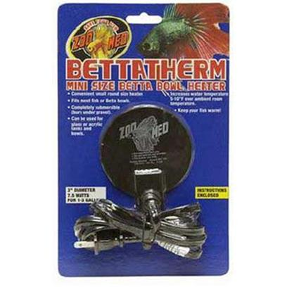 Zoo Med Laboratories Presents Zoo Submersible Betta Bowl Heater 7.5watt Medium (Med) 7.5w. Mini Size Betta Bowl Heater! Completely Submersible (Bury under Gravel). Increases Water Temperature 5-10f over Ambient Room Temperature. Fits Most Fish or Betta Bowls. Can be Used on Both Glass and Acrylic Tanks. [30434]
