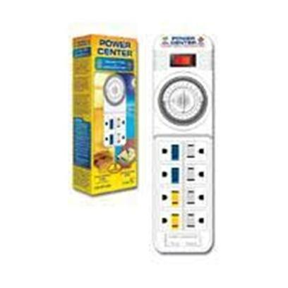Coralife Presents Power Center Wavemaker & Light Timer. 8-Outlet Timer/Power Strip 4 Timer-Controlled Outlets [30451]