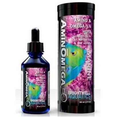 Brightwell Aquatics Presents Brightwell Aquatics (Bwell) Aminomega Hufaomega 2oz/60ml. Provides Marine Sources of Amino Acids and Omega-3 and -6 Highly Unsaturated Fatty Acids (Hufa). Increases the Nutritional Value of Foods for Marine Fishes and Invertebrates, Particularly for Fishes that Show Signs of Head and Lateral Line Erosion. May be Used to Fortify Prepared and Live Foods. Contains no Shark-Derived Ingredients. Composed of a Blend of Unique Marine Fish and Crustacean Sources of Protein and Essential Fatty Acids, as Well as Important Vitamins. Does not Require Refrigeration. [30792]