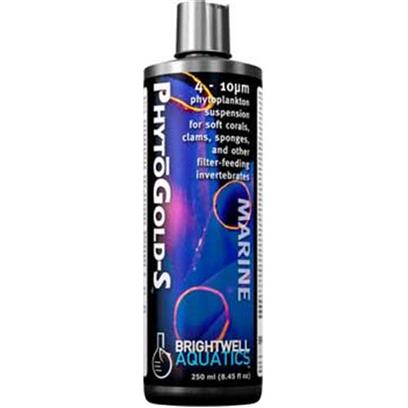 Brightwell Aquatics Presents Brightwell Aquatics (Bwell) Phytogold S-8.5oz/250ml. • Ideally-Sized for Many Soft Corals, Clams, Sponges, Tunicates, Tube Worms, and Larval Invertebrates. • Formulated to Provide over 75-Million Phytoplankton Cells Per Ml. • does not Require Refrigeration. • Supplemented with a Proprietary Amino Acid to Aid in Coloration of Invertebrates. • Formulated by a Marine Scientist. [30808]