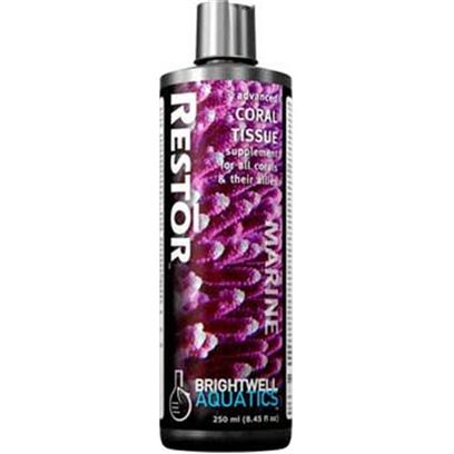 Brightwell Aquatics Presents Brightwell Aquatics (Bwell) Restor Liquid Coral Tissue Supplement 8oz 250ml.  Encourages Health, Growth, Reproduction, and Vibrant Coloration.  Provides Important Nutrients to Corals and their Allies During Periods of Stress Induced by Changes in Lighting and/or Prolonged Exposure to Excessive Water Temperature (Often Resulting in 'Bleaching').  Aids in Tissue Repair After Corals have Undergone Fragmenting and Captive Propagation.  does not Require Refrigeration.  Formulated by a Marine Scientist. [30818]