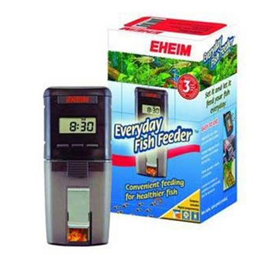 Eheim Presents Eheim Everyday Fish Feeder Automatic. Every Day Fish Feeder Great for Everyday Use Whether You're Home or Away! Reliably Dispenses Accurate Portions to Prevent over or Underfeeding of Fish. Fits on Most Aquariums! Easy to Set-Up Easy Digital Programming for Up to a Maximum of 8 Feedings Per Day Splash-Proof Buttons Ideal for Most Types of Food, for Fresh Water and Marine Fish. Transparent Drum Manual Release Button Allows for Feeding Outside Pre-Programmed Times Battery Operated, Includes 2 Aa Batteries 2-Stage Low Battery Level Indicator [30978]