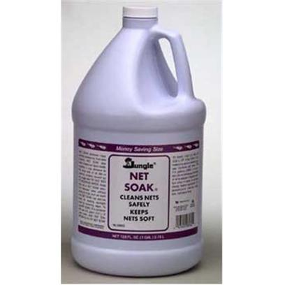 Jungle Laboratories Presents Jungle Net Soak Liquid Gal 8oz. A Net Soaking Compound Used to Maintain Clean, Soft Nets and Prevent Contamination Between Tanks. Removes Most Harmful Substances and Keeps Net Moist and Soft, Resulting in Less Abrasion to Fish. Details Change the Container of Net Soak Solution Once a Week for Home Use, Daily for Store Use. Keep Nets in Solution Between Uses. No Rinsing Necessary. Can also be Used for Soaking Sponges Used for Removing Algae. Replace Solution when it Starts to Become Cloudy. Cleans Nets Safely Store Use Size 1 Gallon [30998]