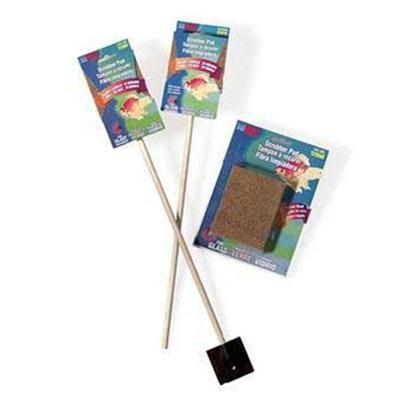 "Lee's Presents Lees Algae 2-Sided Cleaner Pad Stick. 15""Yellow Pad Backed with Crushed Walnut Shell for Heavy Cleaning. Comes with a Scraper on the End. Size 3"" X 4"" X 1"" Packaging Blister Card [31021]"
