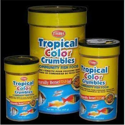 Hb.H. Enterprises Presents Hbh Tropical Color Crumbles 15oz. Tropical Color Crumbles are the Perfect Diet for Community Tank with Small Hearty Pieces. The all Natural Diet is Specifically Formulated Accentuate Color and Meet the Dietary Needs of your Tropical Fish. The Multi Colored Food is Floating and Slow Sinking to Allow your Fish to Feed at their Natural Water Level. [32026]