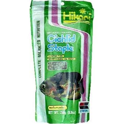 Hikari Usa Presents Hikari Cichlid Staple 8.8oz Medium Pellet. Hikari Cichlid Staple™ is an Economical, Daily Diet for Cichlids as Well as Other Large Tropical Fish. It Contains all the Basic Nutrition your Fish Needs to Stay Healthy. High in Stabilized Vitamin C, Hikari Cichlid Staple™ Promotes Resistance to Stress and Immunity to Infectious Disease. If You're Looking for the Best Diet for your Pet and Pocketbook this is It! [32053]