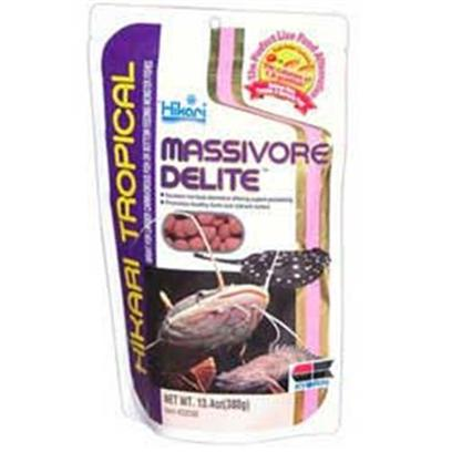 Hikari Usa Presents Hikari Massivore Delite 13.4oz. Nutritional Excellence Each Pellet Contains the Caloric Equivalent of 1.8 Average Goldfish. Each Package Contains the Caloric Equivalent of More than 2,500 Goldfish. Promotes Healthy Form. Helps Reduce Fish Waste. High in Stabilized Vitamin C to Reduce Stress and Build Immunity to Disease. A Well-Balanced Combination of Nutritious Ingredients Designed to Stimulate Appetite. Bio-Technology Allows us to Use the Highest Grade of Caroteniods Available Today to Help your Fish Develop their Natural, Brilliant Colors and Maintain Them. Monster Pellet Absorbs Water Quickly &amp; Softens for Ready Acceptance. Sinking Quickly &amp; will not Cloud the Water. Free of Parasites &amp; Bacteria Common with Live Foods Oxygen Inhibiting Bag Assures Freshness [32069]