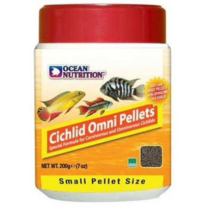 Ocean Nutrition Presents Onutr Cichlid Omni Pellet Small-200 Gram Bottle. High Levels of Refined Quality Proteins Ensure an Ideal Rate of Digestion and Assimilation of Nutrients. Contains Spirulina, Garlic, Vitamin C and Other Immune Boosters. It Comes in Small and Medium Pellet Sizes. Packed in Oxygen-Free Pouches to Guarantee Maximum Freshness. [32196]