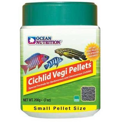 Ocean Nutrition Presents Onutr Cichlid Vegi Pellet Small-200 Gram Bottle. This Unique Formula Duplicates the Natural Diet of the Herbivorous Cichlids, Promoting a Balanced Growth without Fattening the Fish. The Formula Includes Several Natural Pigments to Intensify the Blue, Red and Yellow Colors. It also Contains Spirulina, Garlic, Vitamin C and Other Immune Boosters. It Comes in Small and Medium Pellet Sizes. Packed in Oxygen-Free Pouches to Guarantee Maximum Freshness. [32200]