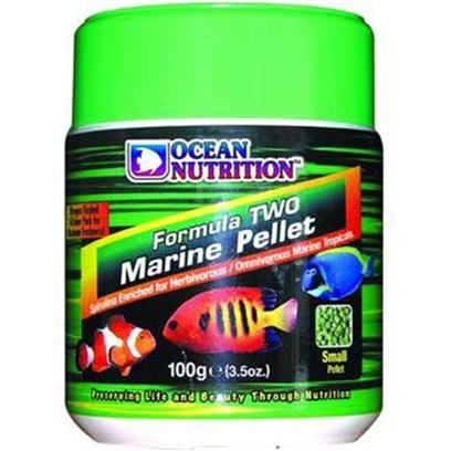 Ocean Nutrition Presents Onutr Formula 2 Marine Pellet 'Medium - 100 Gram. Freshwater and Marine. A Perfect Soft and Moist Pellet Packed in Nitrogen Flushed Foil Bags for Maximum Freshness. Main Characteristics are Increased Palatability and Easy Digestion. Contains Garlic to Aid in Disease Resistance, Spirulina, Kelp and Other Natural Algae as Well as Shrimp, Plankton, Alfalfa and Squid. Green in Color it has a Lower Protein Content. This Food is Intended for Herbivorous and Omnivorous Fish in Both Freshwater and Marine Environments. Comes in Small and Medium Pellet Sizes. Use Medium for Fish that are Four Inch Long and More. [32215]