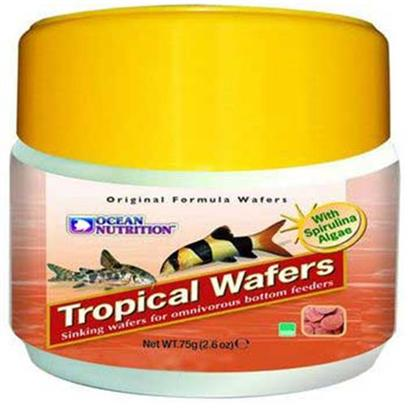 Ocean Nutrition Presents Onutr Tropical Wafers 75 Gram. Tropical Wafers are an Easily Digestible, Highly Palatable Sinking Food for Herbivorous Bottom Feeding Fish.Tropical Wafers are a Balanced Blend of all the Minerals, Vitamins and Proteins Needed for Healthy Development.Tropical Wafers are Specially Enriched with Krill Meal and Spirulina to Provide the Ultimate Balanced Diet for your Fish. Tropical Wafers are Formulated with the Finest Ingredients Making them Easy to Eat and Easy to Digest. [32221]