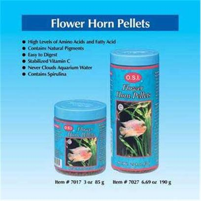 Ocean Star International Presents Ocean Star International (Osi) Flower Horn Pellets 6.69oz. Flower Horn Pellets are Made Specifically with Nutritious Food for Flower Horn. High Pigment Levels are Included to Keep your Flower Horn Naturally Bright and Colorful. High Protein Content Helps Promote Rapid Growth. [32229]