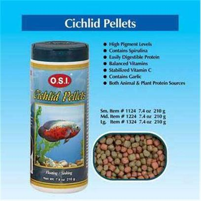 Ocean Star International Presents Ocean Star International (Osi) Pellets Cichlid 6.69oz-Medium. In their Natural Habitat, Cichlids Ten to Feed More on Animal Rather than Plant Materials. Because of their Predatory Nature, they are Very Active. O.S.I Cichlid Pellets are Formulated with High Levels of Animal Proteins to Meet the Carnivorous Feeding Habits of Most South and Central American and African Cichlids. High Levels of Fat Provide Energy for these Active Swimmers while Natural Color-Enhancing Pigments Keep their Bright Colors Vivid and Beautiful. O.S.I Cichlid Pellets are Appropriate for Larger Cichlids. [32233]