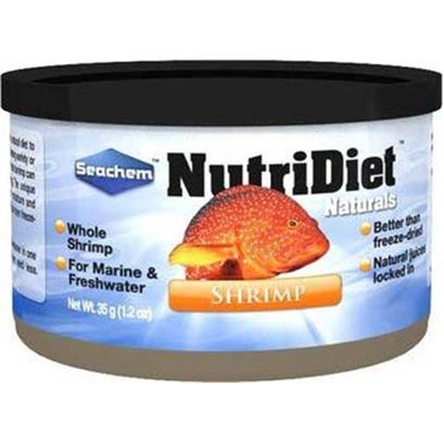 Seachem Laboratories Presents Seachem Natural Shrimp Small 1.2oz Nutri Diet Naturals. Nutridiet Shrimp is the Ideal Solution for Feeding a Natural Diet to Fresh and Saltwater Fish. It is Perfect for the Aquarist Seeking Variety or an Alternative to Pelleted Foods. Studies have Shown that Shrimp can be Used to Condition a Variety of Fish for Breeding. The Unique Packaging Process of Nutridiet Shrimp Locks in Moisture and Nutrients Making it More Palatable and More Nutritious than Freeze-Dried Shrimp. Sizes 35 G [32260]