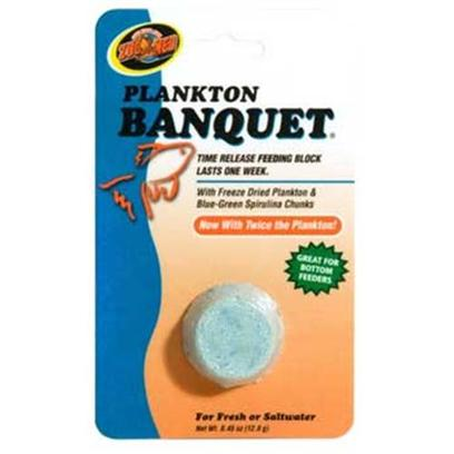 Zoo Med Laboratories Presents Zoo Banquet Block Plankton Medium (Med) Aquatrol Feeder Regular. Zoo Meds Plankton Banquet Time Release Feeding Blocks Last 3 to 14 Days, Depending on Block Size. In Addition to Weekend and Vacation Feeding, Plankton Banquet is a Great Daily Food Source for Problem Feeders Such as Plecostomus, Algae Eaters, Redtail Sharks, Gouramis, Saltwater Tangs, Angels &amp; Damsels. Original Banquet Blocks are also Very Useful for Small Fry which do Best when Constantly Feeding. Now with Twice the Plankton! Contains Blue-Green Spirulina Chunks. Great for Bottom Feeders. Formulated for Fresh and Saltwater Fish. Additional Information Place the Time Release Food Block in your Aquarium. Multiple Food Blocks can be Positioned Across Aquarium Floor to Accommodate Territorially Aggressive Fish. One Plankton Banquet Block will Feed Approximately 15-20 Average Sized Aquarium Fish. Do not Use this Product in Fish Bowls or Aquariums which do not have Aeration or Filtration. Plankton Banquet Blocks will not Cloud Water. Important the Blue Color in this Block is Pure Spirulina. Spirulina is a Blue-Green Plant Plankton Rich in Raw Protein and Major Vitamins. Research has Shown that Fresh and Saltwater Fish Exhibit Superior Growth, Maturity, Energetic Behavior and More Elegant Coloring when Fed Spirulina. [32325]