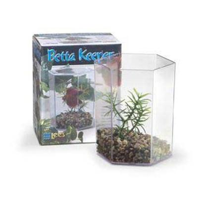 Lee's Presents Lees Betta Hex Tank Mini Kit. Use Small Betta Keeper to House and Display Betta Splendens Siamese Fighting Fish. Betta Keepers can be Nested into Multiple Units to Create Displays; no Complicated Filtration System is Required for this Low-Maintenance Tank. Comes with Gravel and Plant. Packaging Boxed [32377]