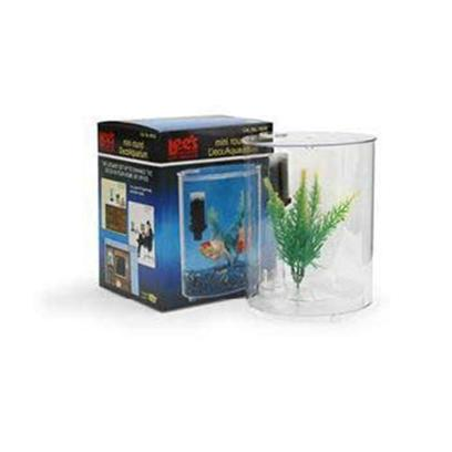 Lee's Presents Lees Mini Round Deco Aquarium. The Clear, Seamless Aquarium Adds to any Room Decor. The Ultimate Set-Up to Enhance any Room of your Home, Office or Dorm. The Self-Centering Removable Lid Features a Feeding Hole with a Self-Latching Pivoting Cover and 2 Airline Tubing Holes. Set Includes Tank, under Gravel Filter, Carbon Cartridge and Decorative Plant. Size 6' Dia. 7-1/4' High Packaging Boxed [32380]