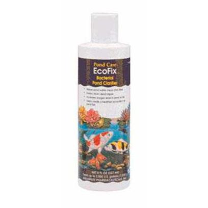 Aquarium Pharmaceuticals Presents Aquarium Pharmaceuticals (Ap) Pond Ecofix 16oz. Bacterial Pond Clarifier Bacterial Pond Clarifier Helps Create a Healthy Ecosystem for Pond Fish. By Digesting Sludge, and Reducing Organics, Ecofix Increases Oxygen Levels and Makes Pond Water Clean and Clear. Helps Create a Healthy Ecosystem for your Pond Fish. 8 Fl. Oz. Bottle (237 Ml) Treats Up to 2,000 us Gallons. (7,570 L) 10 Oz. [32606]